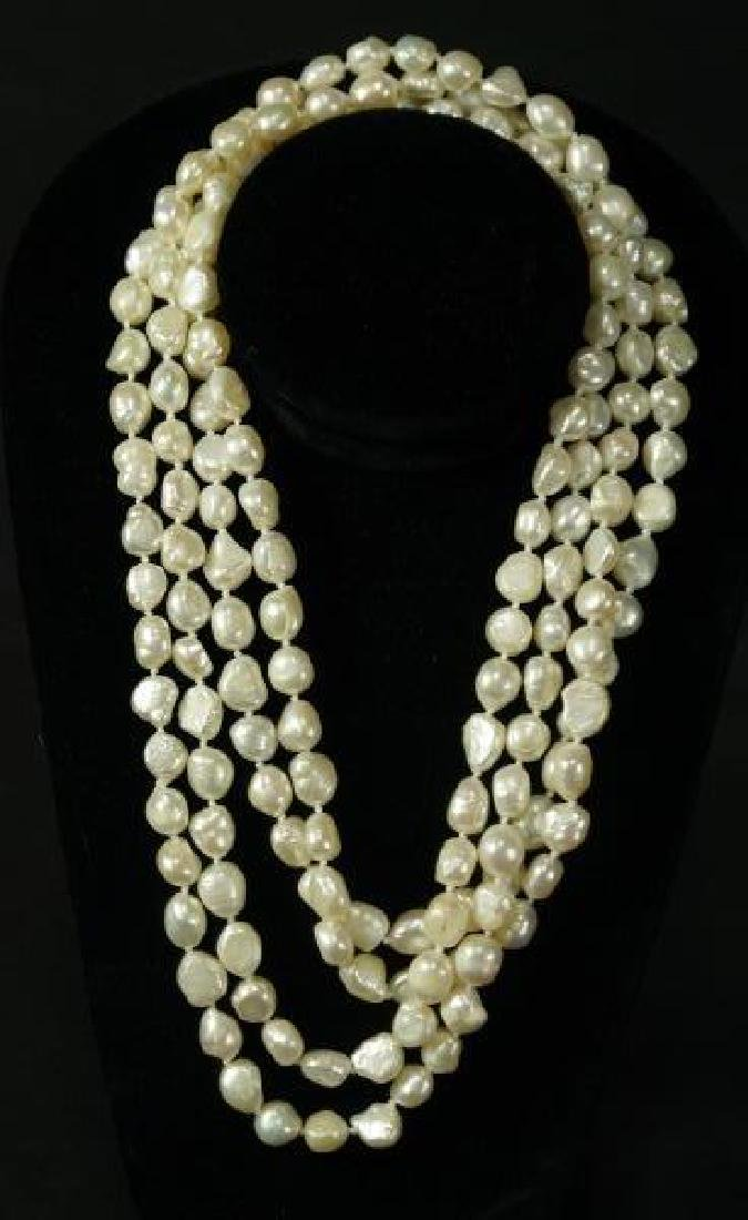 "WELL-PROPORTIONED 80"" WHITE PEARL NECKLACE"