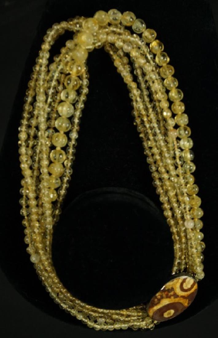 MULT-STRAND YELLOW CITRINE BEAD NECKLACE