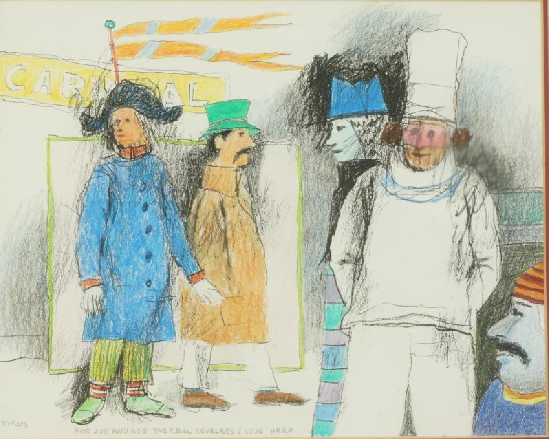"HERB MEARS ""CARNIVAL"" MIXED MEDIA DRAWING"