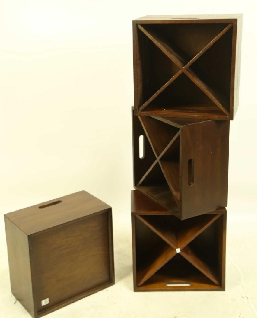 SET OF FOUR WINE STORAGE STACKABLE BOXES