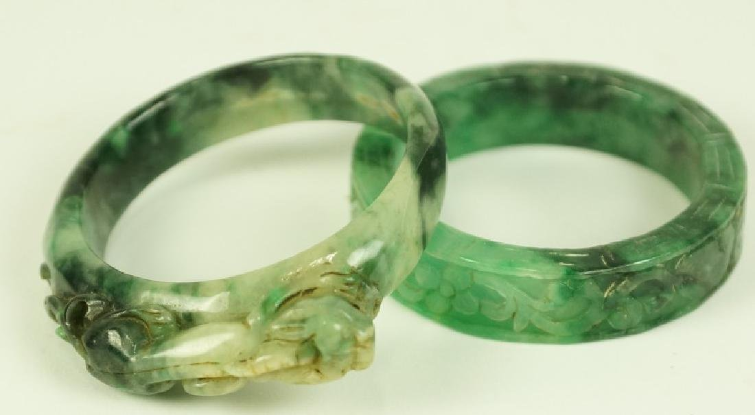 LOT OF TWO JADE BANGLE BRACELETS