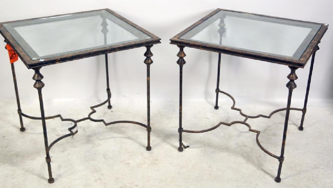 PAIR OF WROUGHT IRON GLASS  TOP SIDE TABLES