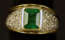 14KT GOLD EMERALD  MICRO PAVE DIAMOND RING