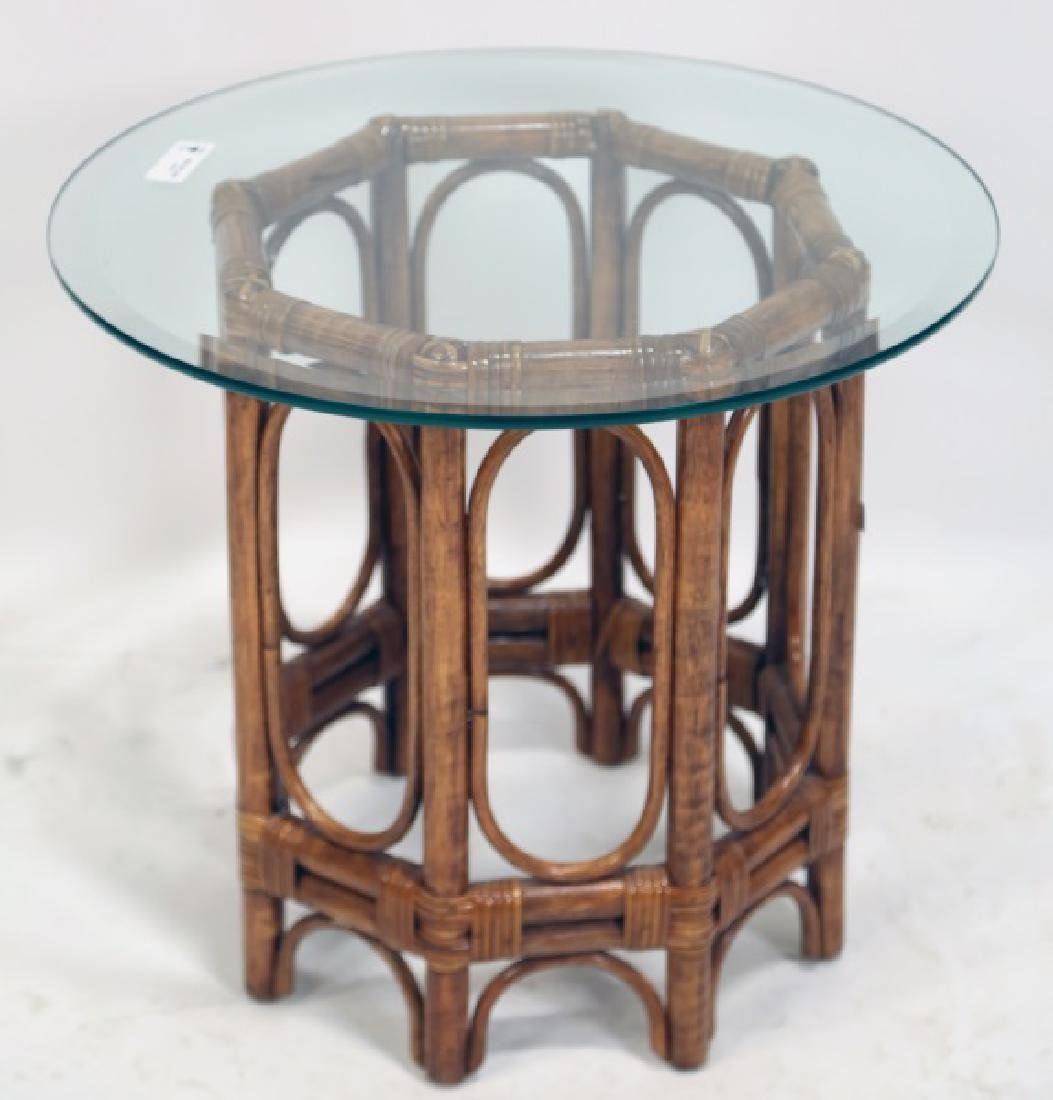 VINTAGE MCGUIRE RATTAN GLASS TOP SIDE TABLE