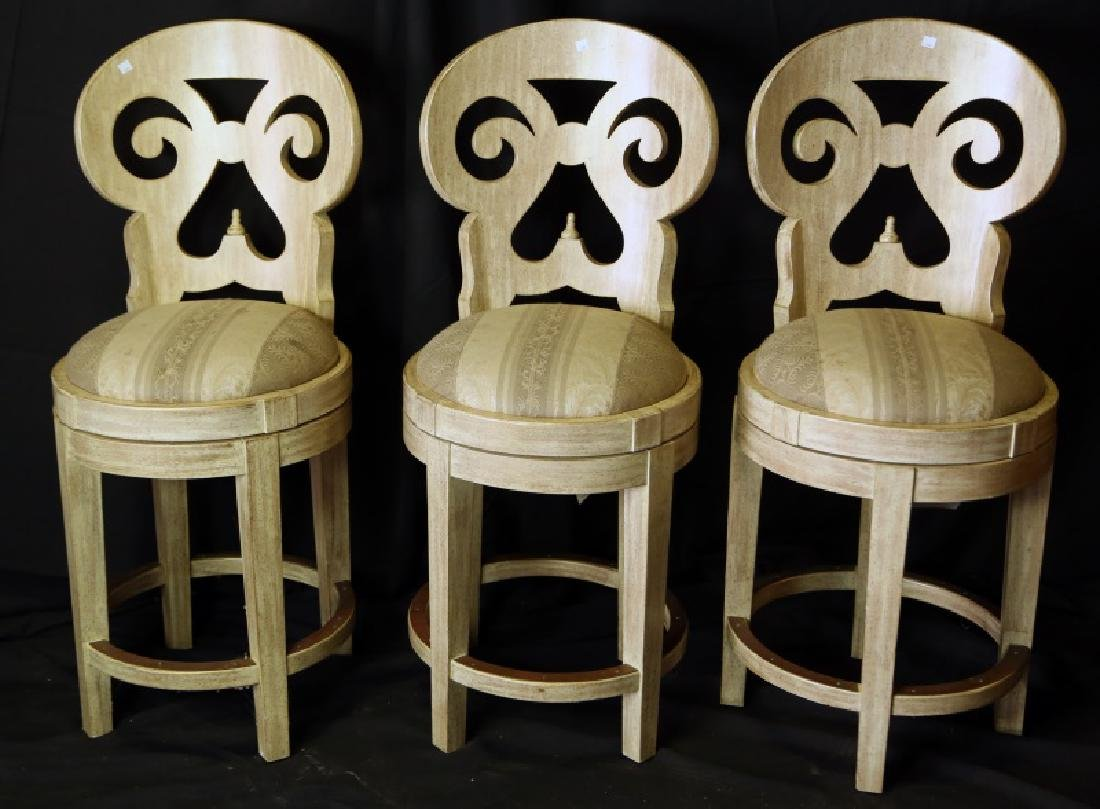 SET OF THREE ITALMOND LYRE BACK BARSTOOLS