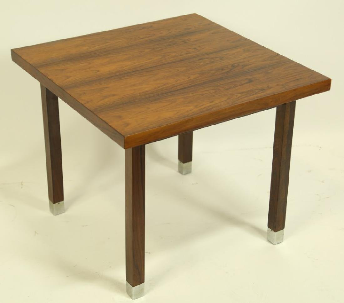 DANISH MODERN ROSEWOOD SIDE TABLE WITH METAL SHOES