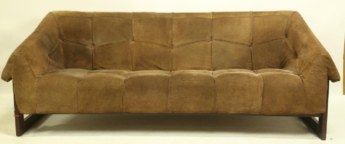 PERCIVAL LAFER BRAZILIAN ROSEWOOD & SUEDE SOFA