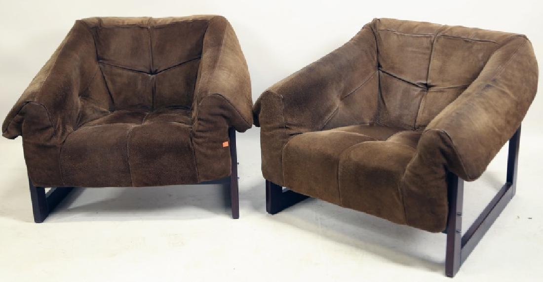 CIRCA 1970's MID-CENTURY MODERN SUEDE CLUB CHAIRS