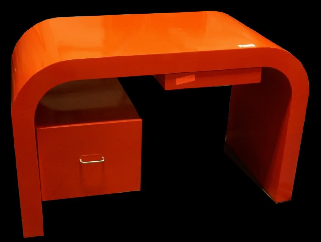 CIRCA 1970's ORANGE LACQUERED WATERFALL STYLE DESK