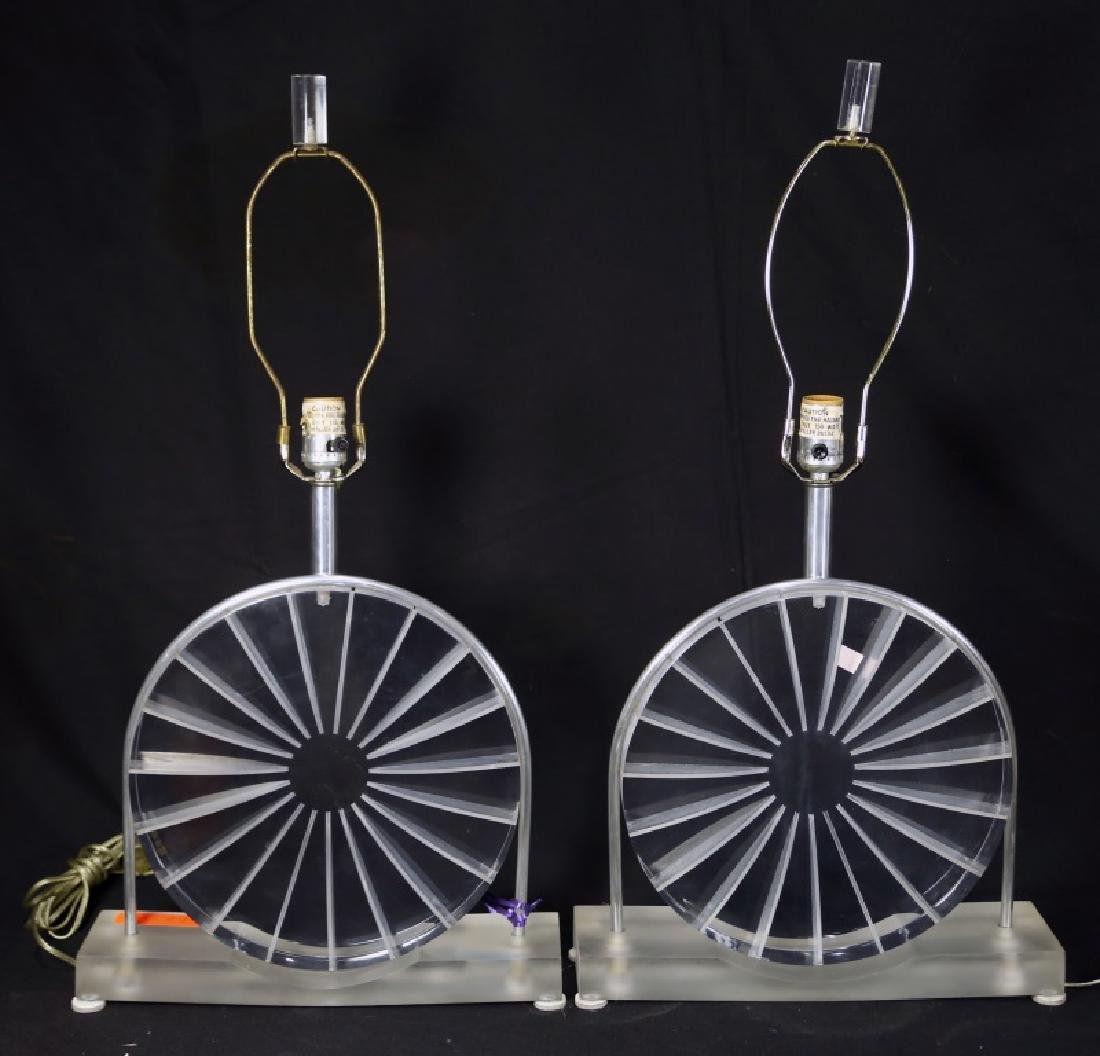 PAIR OF LUCITE LAMPS