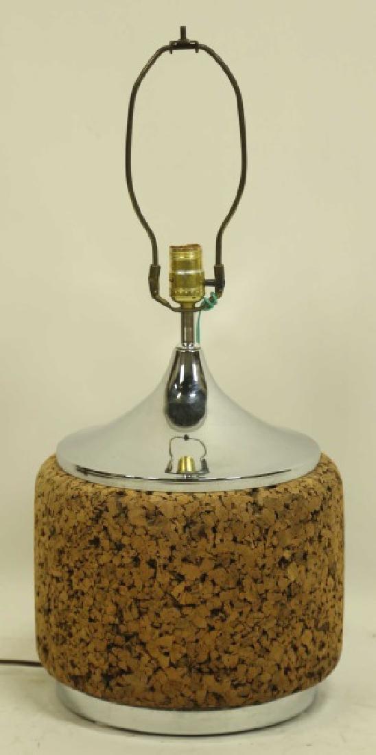 MID-CENTURY MODERN CORK & SILVER BASE LAMP
