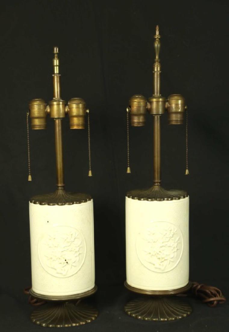 PAIR OF VINTAGE BLANC DE CHINE ORIENTAL LAMPS