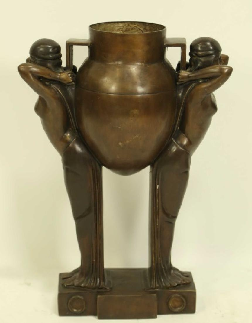 ART DECO STYLE SUPPORTED BRONZE VASE