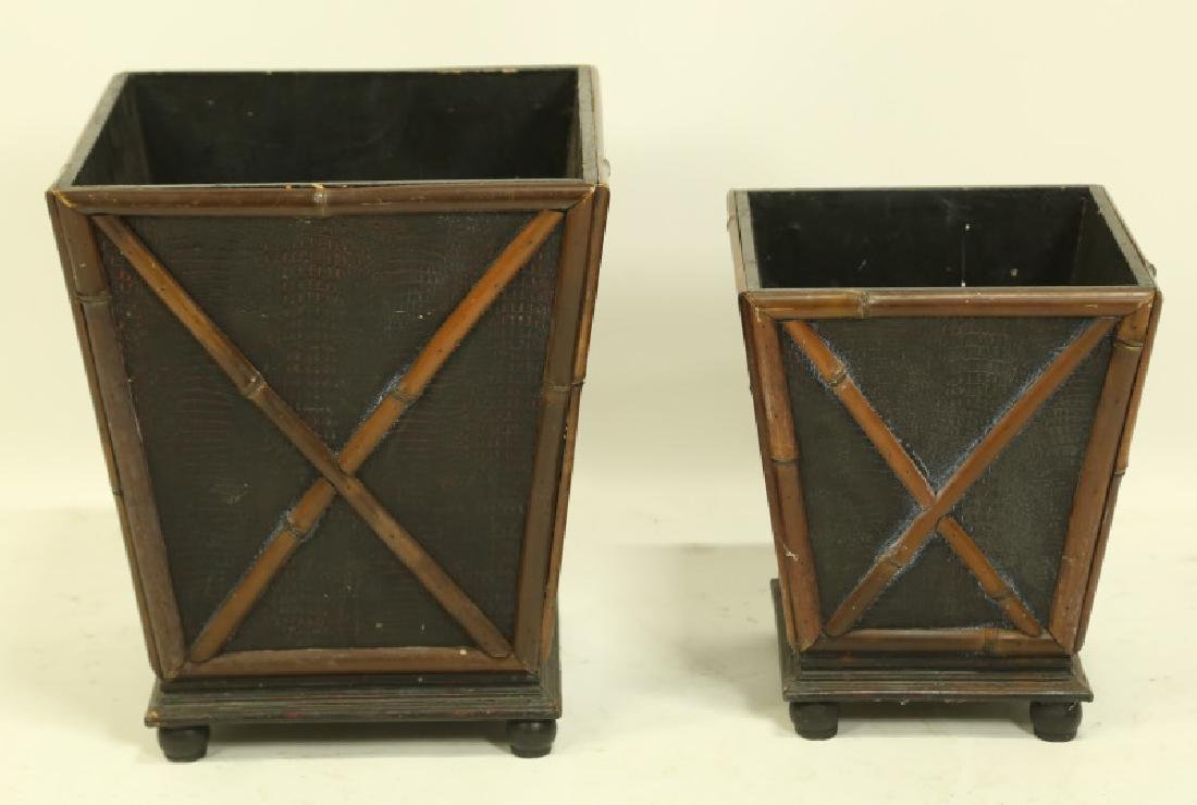 LOT OF TWO METAL AND WOOD PLANTERS/WASTE BASKETS