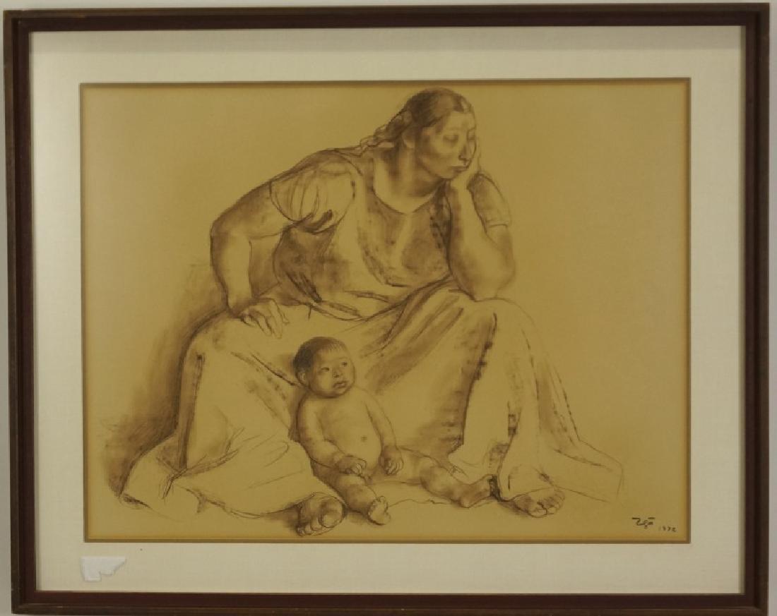 FRANCISO ZUNIGA MOTHER & CHILD DRAWING, 1972
