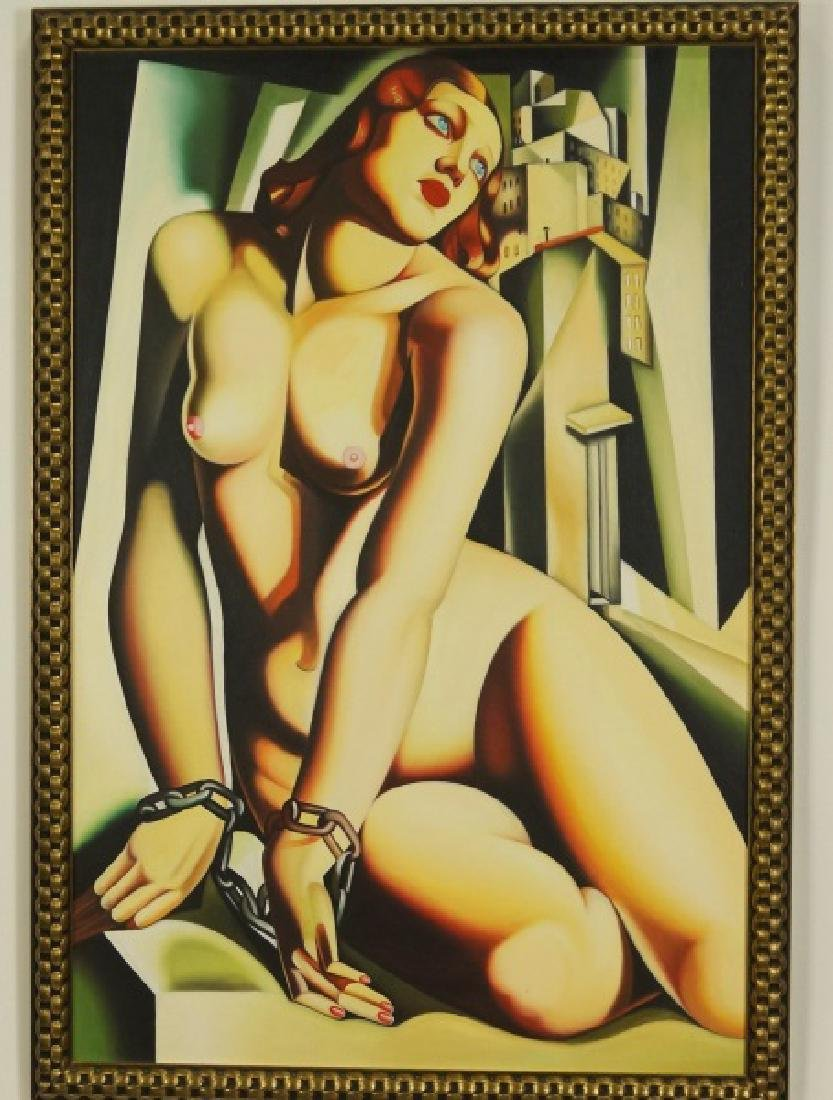 IN THE STYLE OF TAMARA LEMPICKA NUDE OIL ON CANVAS