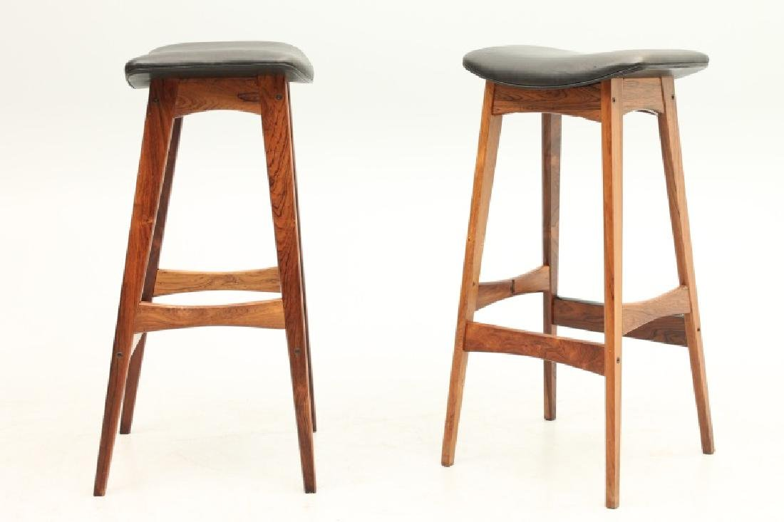 PAIR OF DYRLUND ROSEWOOD AND LEATHER STOOLS