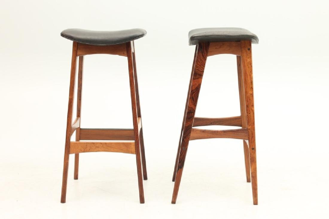 PAIR OF DYRLUND ROSEWOOD AND LEATHER STOOLS - 2
