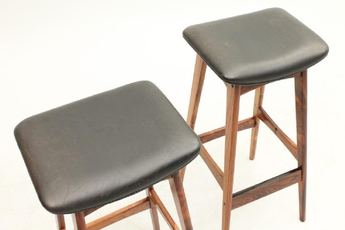 PAIR OF DYRLUND ROSEWOOD AND LEATHER STOOLS - 3