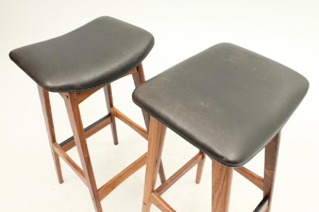 PAIR OF DYRLUND ROSEWOOD AND LEATHER STOOLS - 4
