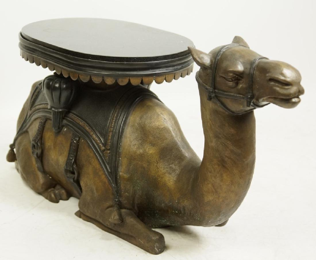 BRONZE MARBLE TOP CAMEL TABLE