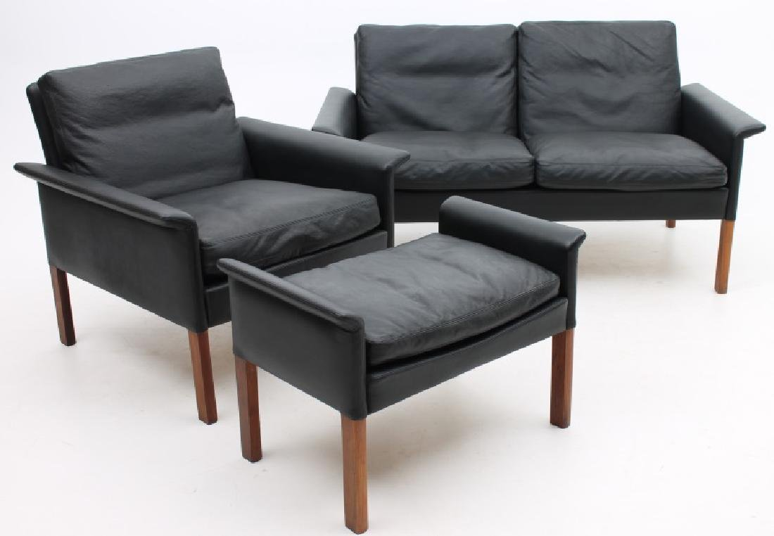 HANS OLSEN DANISH MODERN LOVESEAT, CHAIR & OTTOMAN