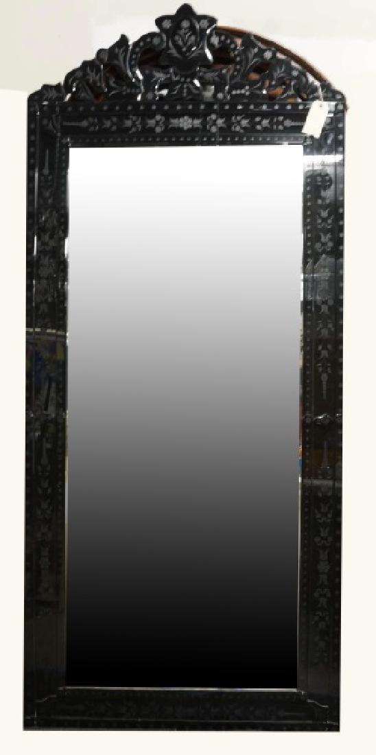 BLACK VENETIAN GLASS FRAMED MIRROR