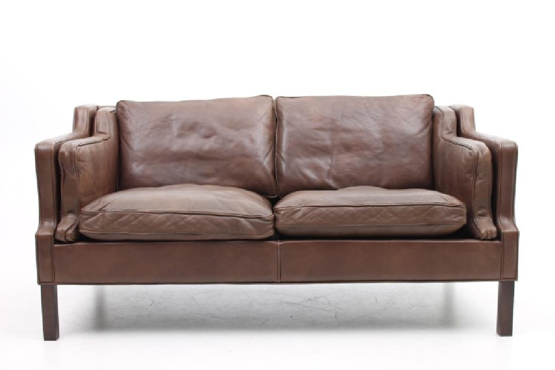 STOUBY MOBLER DANISH MODERN BROWN LEATHER SOFA.