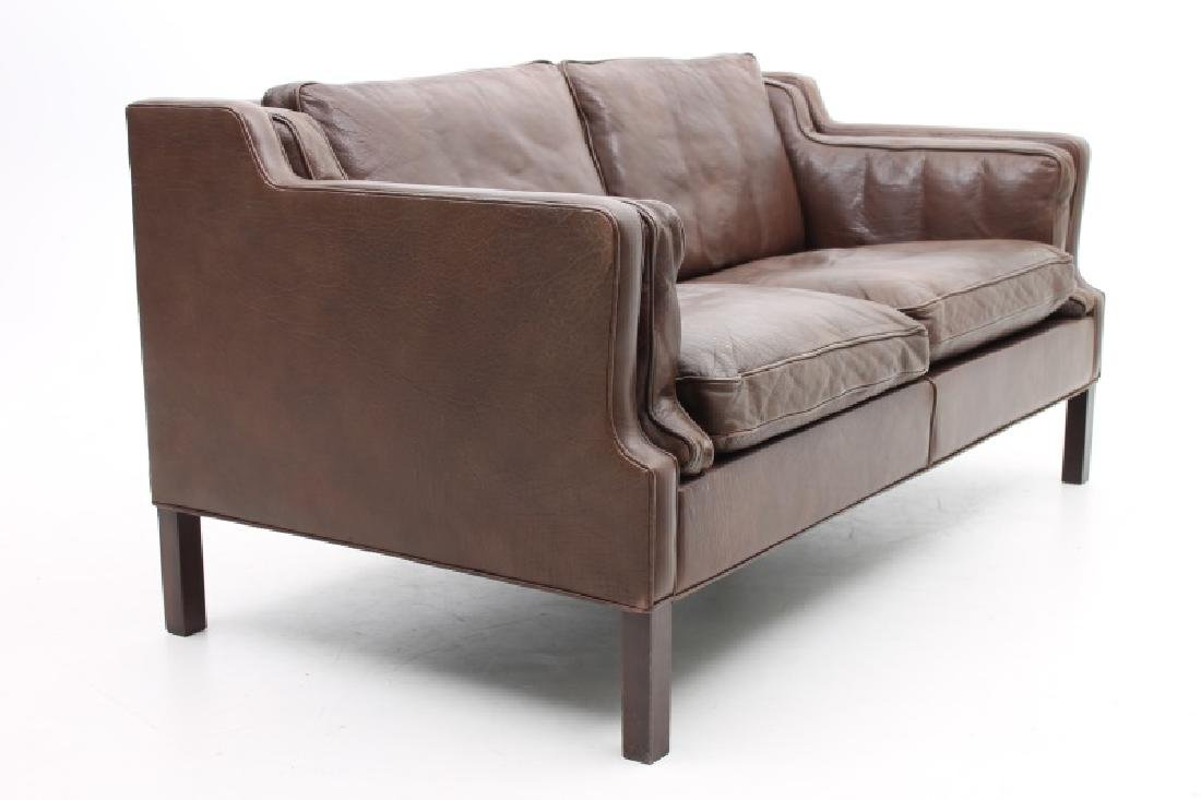 STOUBY MOBLER DANISH MODERN BROWN LEATHER SOFA. - 2