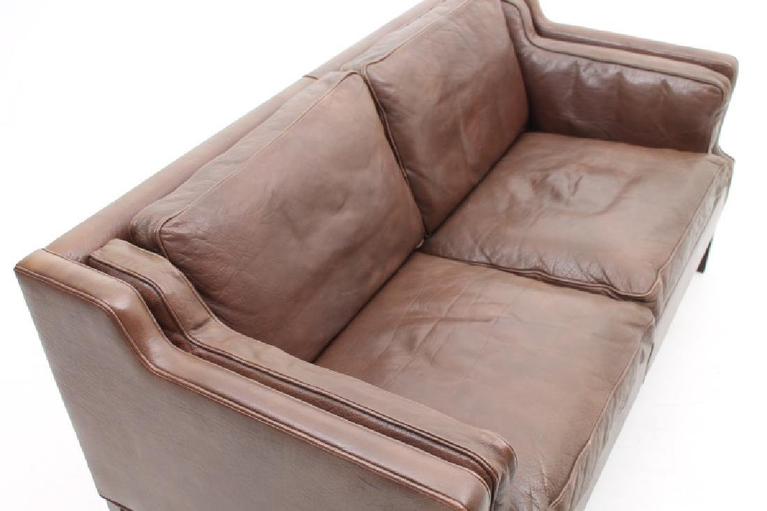 STOUBY MOBLER DANISH MODERN BROWN LEATHER SOFA. - 3