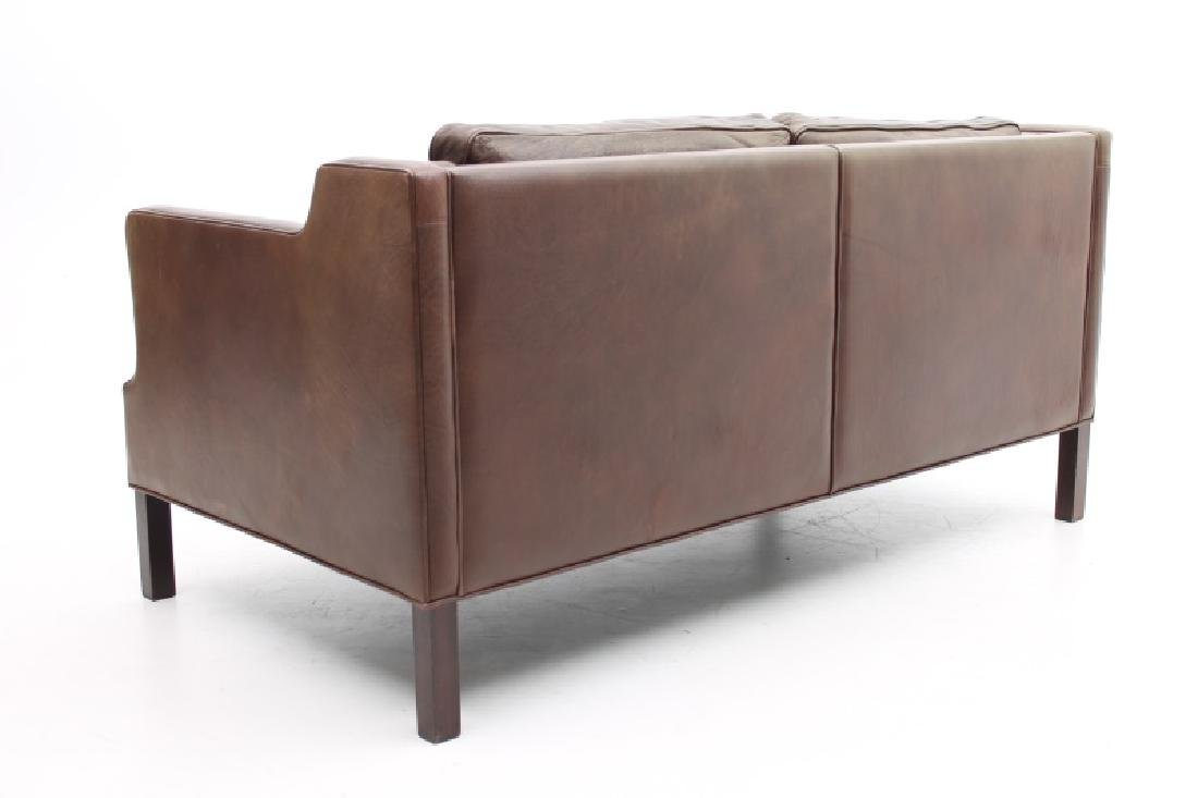 STOUBY MOBLER DANISH MODERN BROWN LEATHER SOFA. - 4