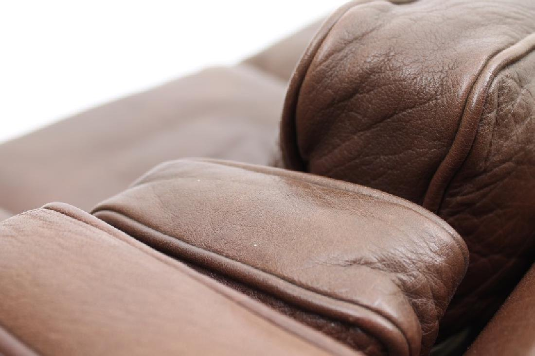 STOUBY MOBLER DANISH MODERN BROWN LEATHER SOFA. - 5