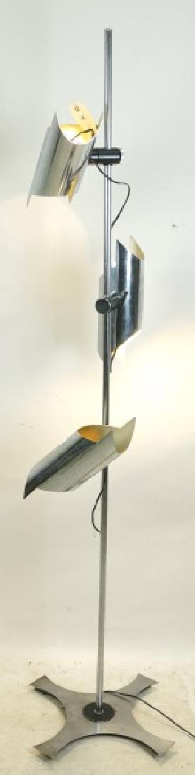 1980's ITALIAN THREE LIGHT CHROME FLOOR LAMP