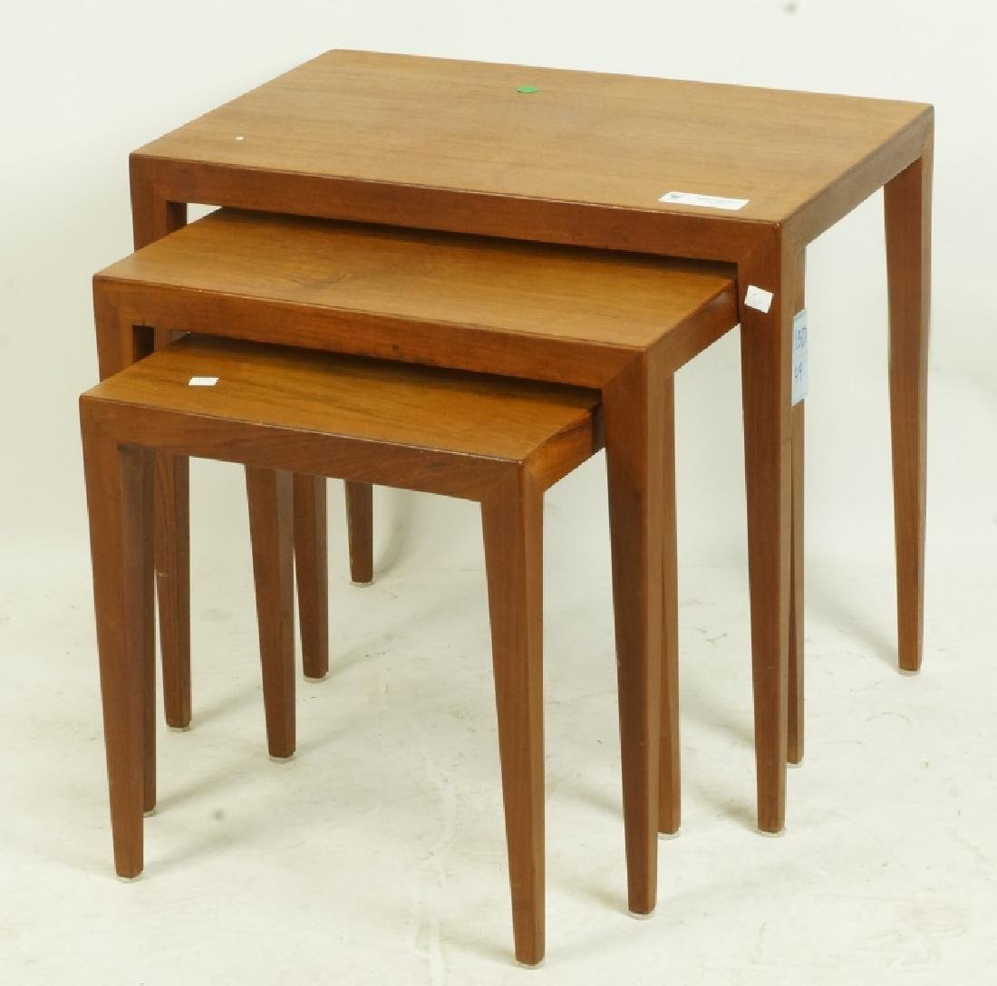 THREE-PIECE DANISH MODERN TEAK NEST OF TABLES