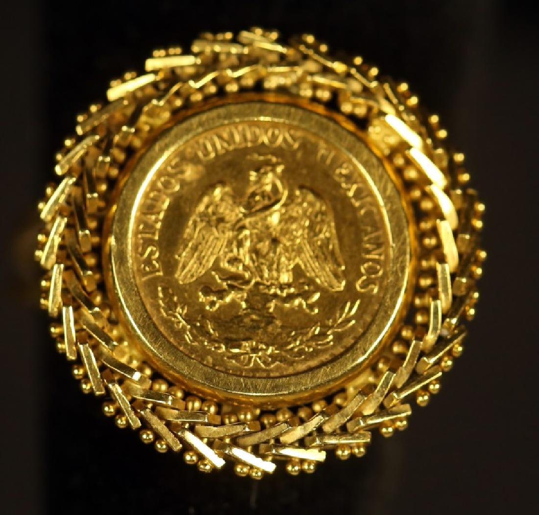 MEXICAN TWO PESO YELLOW GOLD COIN FILIGREE RING