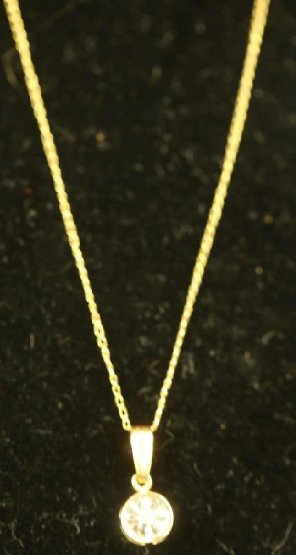 "0.20CT. DIAMOND GOLD PENDANT ON 18"" BOX CHAIN"