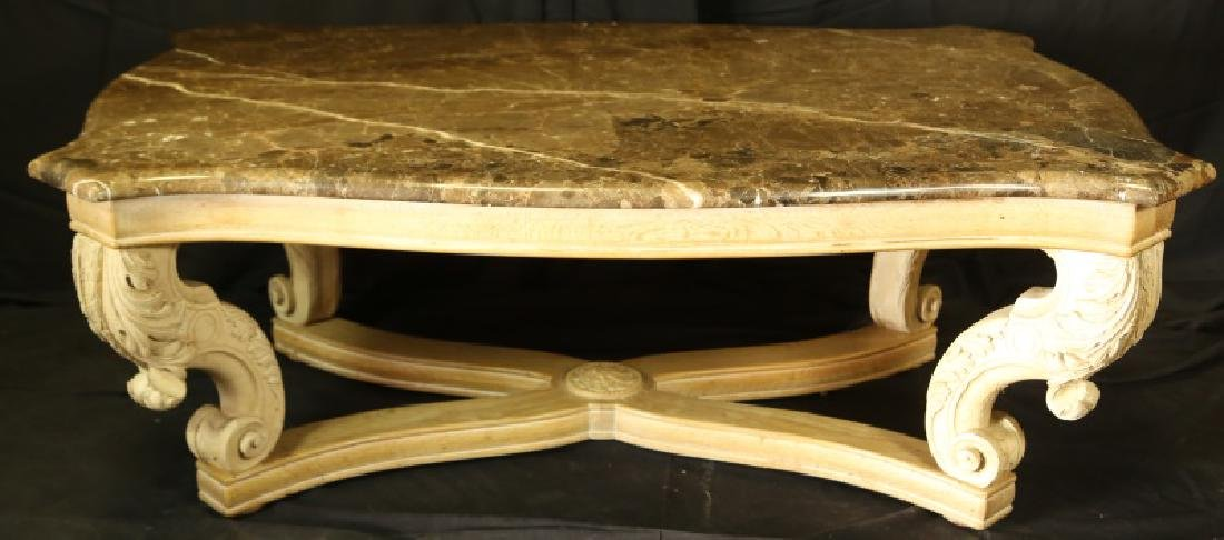 MARBLE TOP COFFEE TABLE WITH BAROQUE BASE