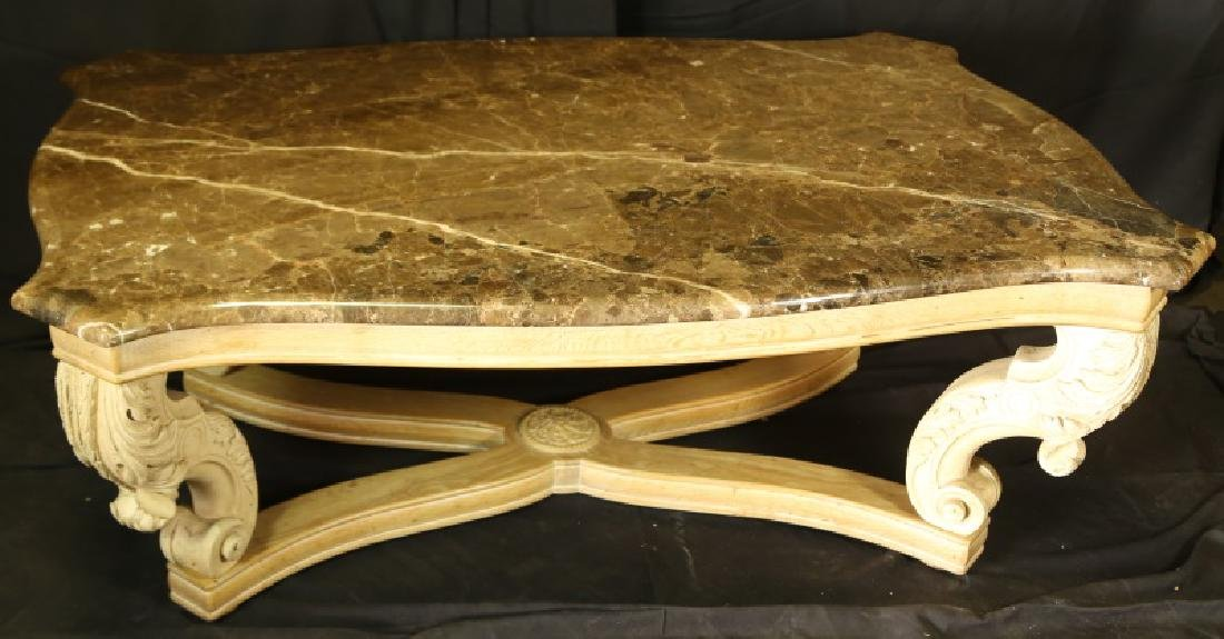 MARBLE TOP COFFEE TABLE WITH BAROQUE BASE - 2