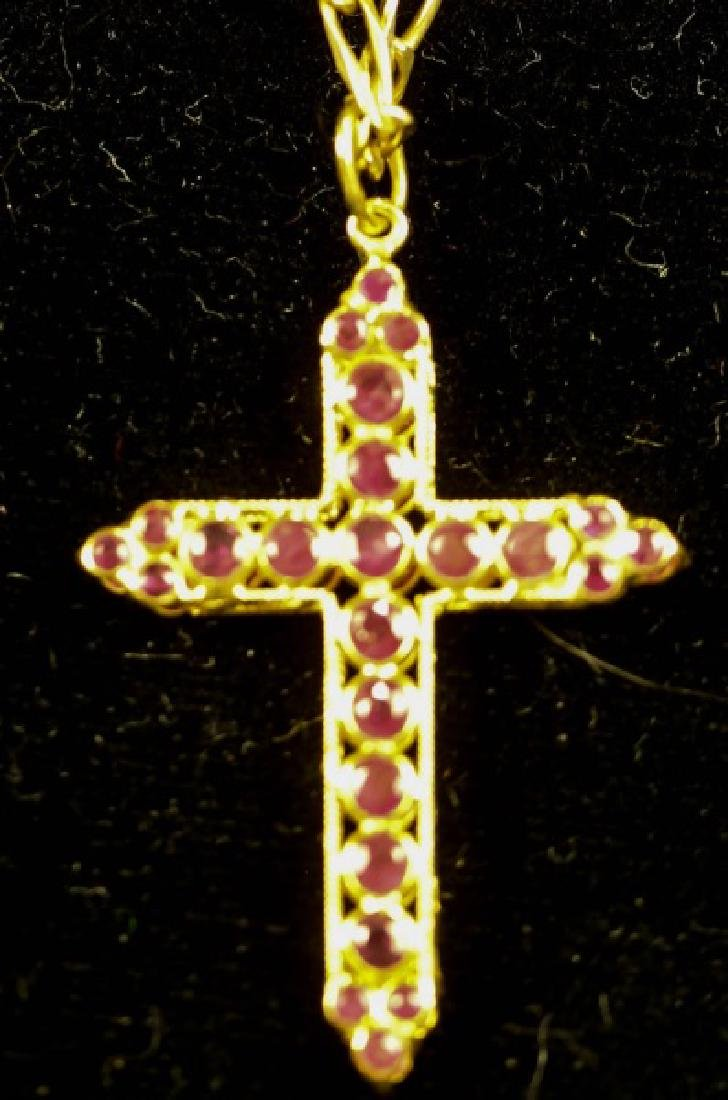 "14KT YELLOW GOLD RUBY CROSS PENDANT ON 18"" CHAIN"