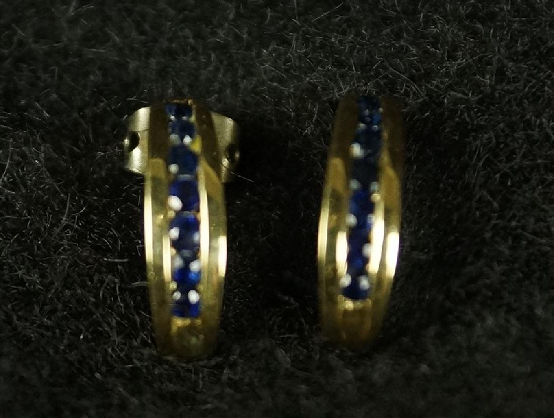 PAIR OF 2.2 CT SAPPHIRE 14KT YELLOW GOLD EARRINGS