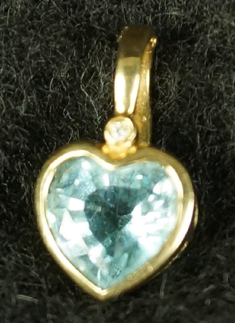 BLUE TOPAZ HEART SHAPED PENDANT