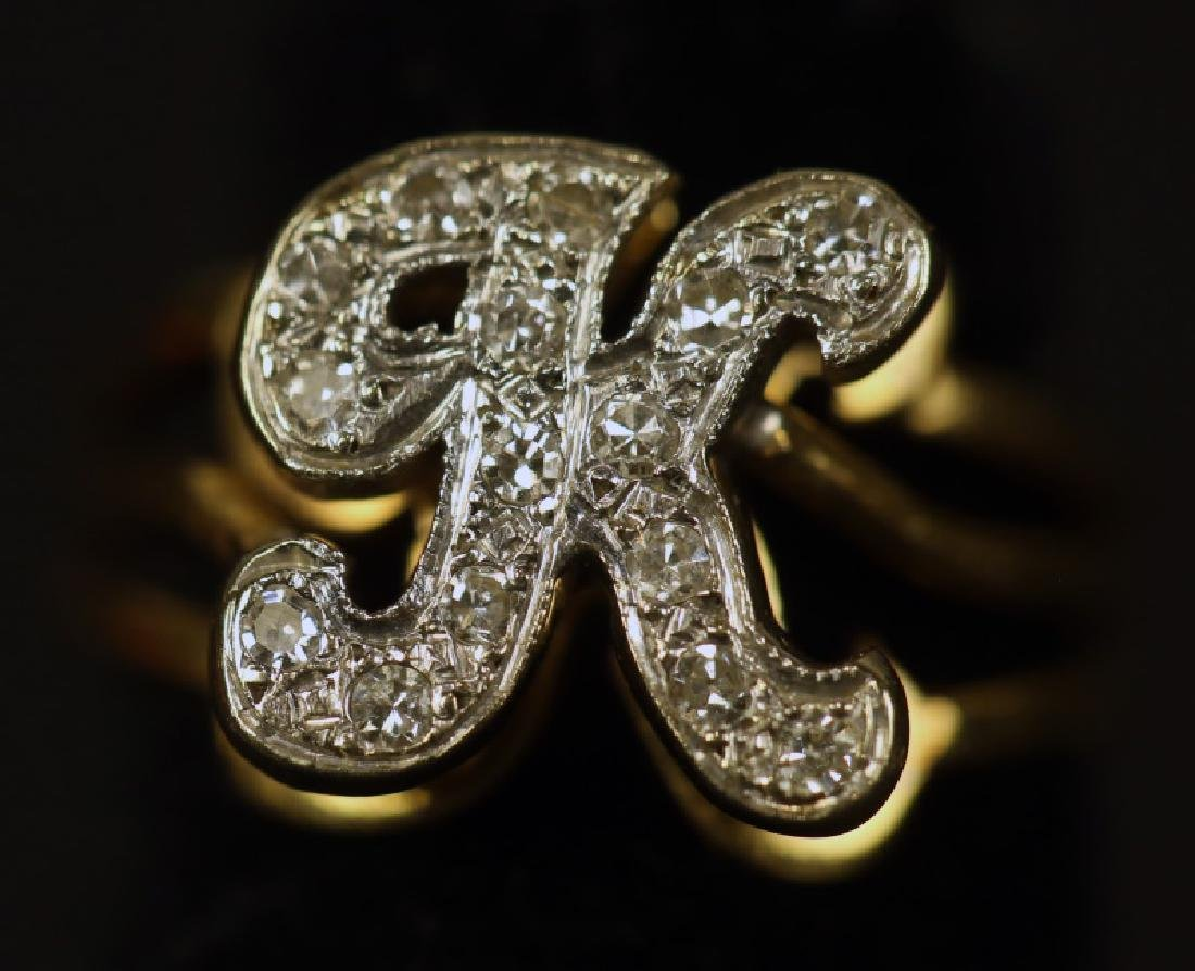 """K"" MICRO PAVE DIAMOND 14KT YELLOW GOLD RING"