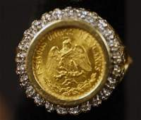 14KT TWO PESO YELLOW GOLD COIN  DIAMOND RING