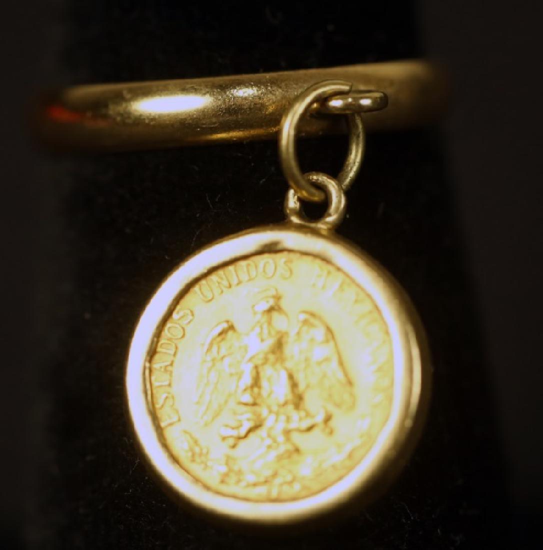 YELLOW GOLD DOS PESOS COIN DANGLE RING