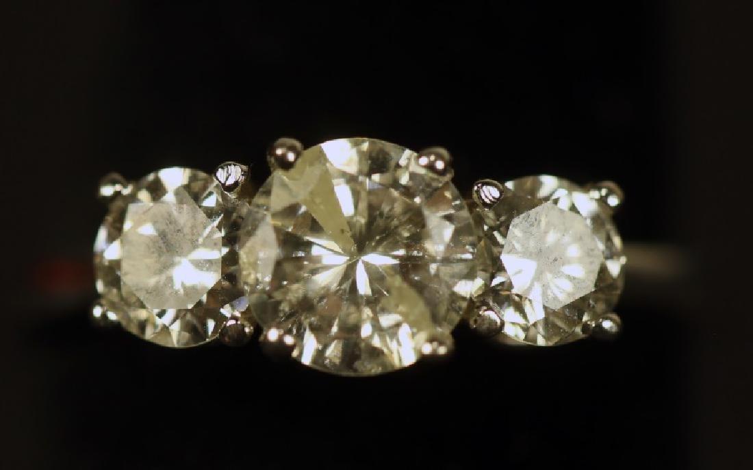 TRIPLE 1.33CT. YELLOW DIAMOND 14KT WHITE GOLD RING
