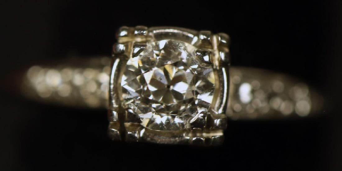 1CT DIAMOND SOLITAIRE MICRO PAVE DIAMOND 10KT RING
