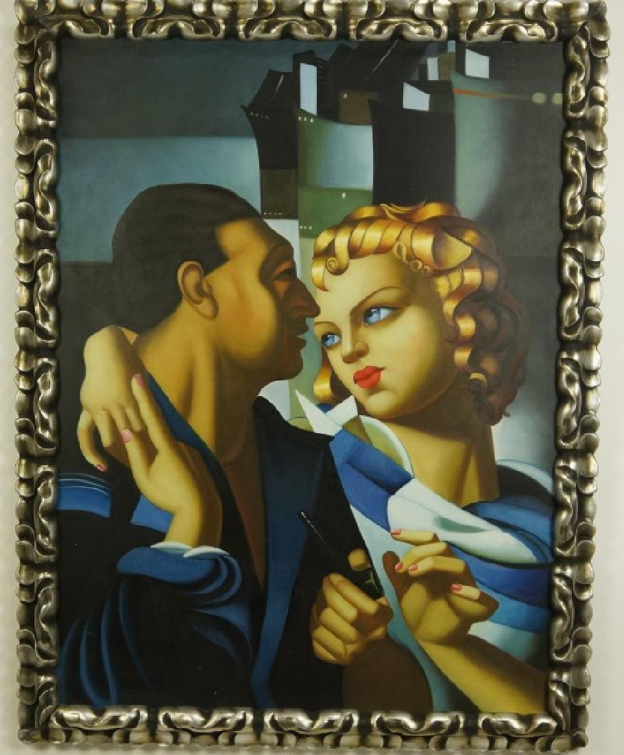 IN THE STYLE OF LEMPICKA OIL ON CANVAS SCENE OF COUPLE