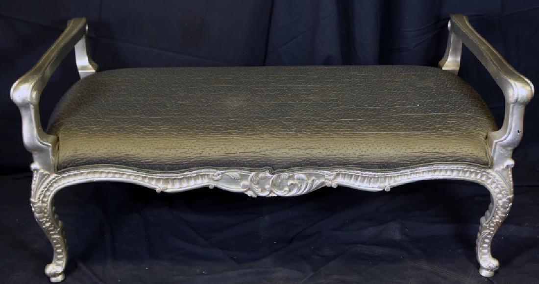 SILVER LEAFED SILK SEAT BENCH BY CASA BUEQUE, N.C.