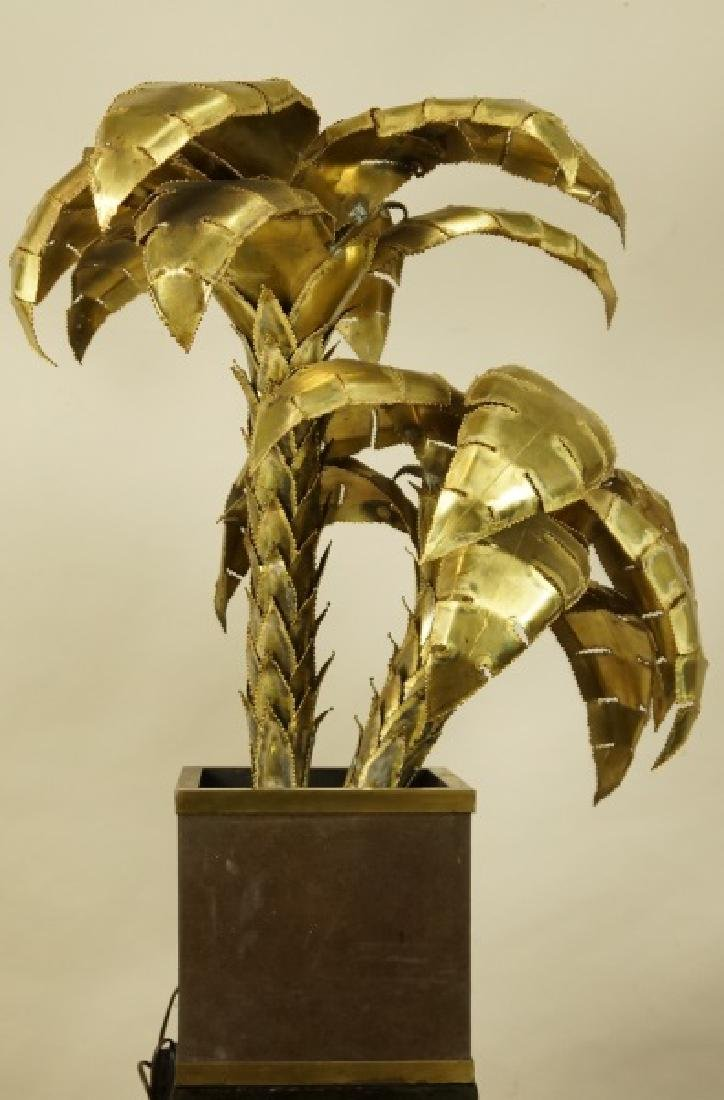 VINTAGE MAISON JANSEN BRASS PALM TREE LAMP