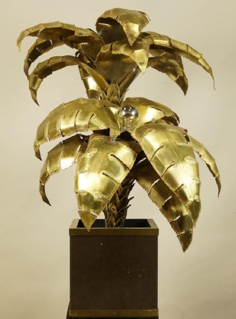 VINTAGE MAISON JANSEN BRASS PALM TREE LAMP - 2